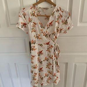 bird and floral wrap dress